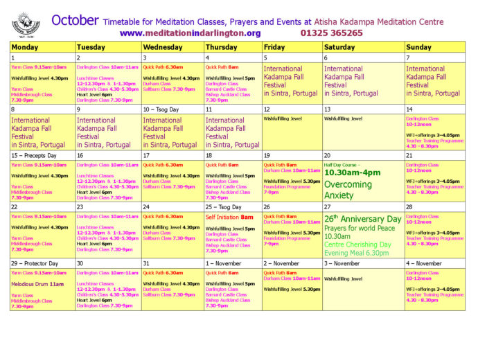October 2018 timetable