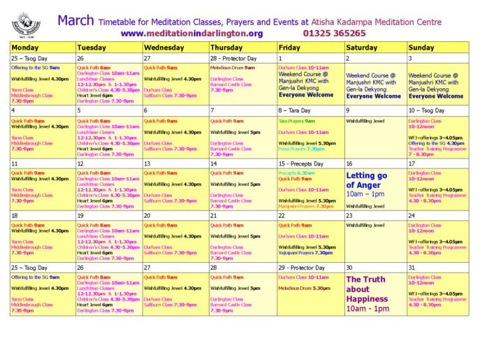 March 2019 timetable