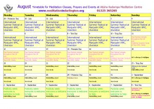 August 2019 timetable