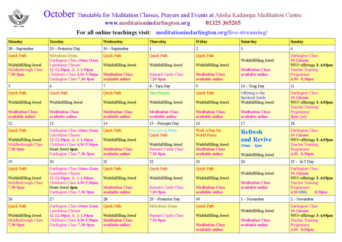 October 2020 timetable